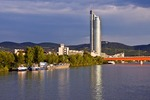 Vienna's Millenium Tower and Brigittenauer Bridge on Danube River in early morning light