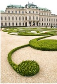 Vienna's Belvedere Palace view from gardens, Baroque architecture, built by Prince Eugene of Savoy