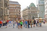 Vienna's St. Stephens Square (Stephansplatz)  with young tourists