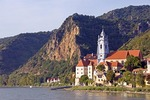 Durnstein village on Danube River with church that  was formerly an Augustinian monastery