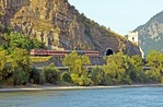 Austria intercity train along Danube River in Wachau Valley