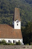Danube River church along riverbank in scenic Wachau Valley