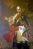 Melk Abbey, portrait of German-Roman emperor, Kaiser Franz Stephen von Lothringen as commander, 1745, by Martin Van Meytans, in commemoration of visit to Abbey