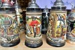 Cologne shop window display of decorative German porcelain beer steins