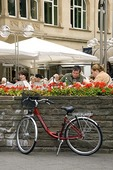 Cologne outdoor cafe customers enjoying lunch