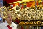Cologne almond pretzel shop with pretty sales clerk