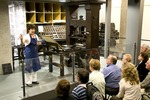 Johann Gutenberg's printing press demonstrated at Gutenberg Museum in Mainz