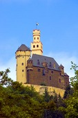Marksburg Castle overlooking middle Rhine River near Braubach