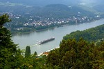 Middle Rhine River with barge near Braubach viewed from Marksburg Castle