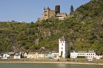 Katz Castle (Burg Katz) overlooking town of St. Goarshausen and Rhine River