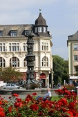 Koblenz Old Town Square, German city at junction of Rhine and Mosel rivers