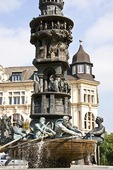 Koblenz Old Town Square historical commemorative fountain, German city at junction of Rhine and Mosel rivers