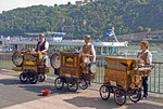 Koblenz musical entertainment German style dockside of Rhine River cruise ship, with Ehrenbreitstein Fortress in background