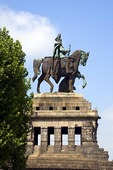 Koblenz statue of Kaiser Wilhelm I overlooking junction of Rhine and Mosel rivers