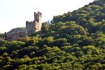 Sooneck Castle on forested overlook of Rhine River near Bacharach