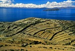 Isla del Sol at Lake Titicaca in Bolivian Andes with fields divided for farming and livestock