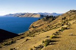 Isla del Sol at Lake Titicaca in Bolivian Andes
