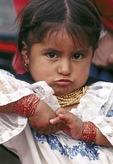 Native Indian girl at market near Equator in Ecuador
