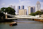 Singapore River bridges and modern skyline of downtown