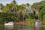 Isletas de Granada, islands in Lake Nicaragua, with private home and boaters