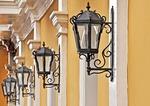 Colonial Granada architecture, Hotel La Gran Francia wrougth iron lamps