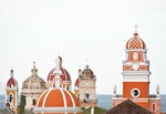 Colonial Granada architecture, Cathedral and churches bell towers, overlooking Lake Nicaragua