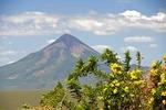 Momotombo active cone-shaped volcano on Lake Managua