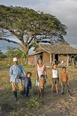 Nicaraguan farm laborer with family at their tenant house in rural Rivas department, west of Lake Nicaragua
