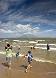 Lake Nicaragua beach at San Jorge, Concepcion volcano on Ometepe Island in background