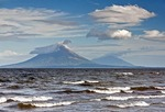 Lake Nicaragua, north of Rivas, with Concepcion and Maderas volcanoes on Ometepe Island