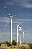 Wind turbines under construction in Nicaragua corridor between Pacific and Lake Nicaragua