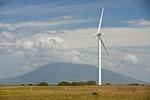 Wind turbine and volcano along Lake Nicaragua
