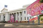 Managua's Palacio Nacional (National Palace), now an art museum, flanked by political billboard promoting President Daniel Ortega