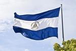 Republic of Nicaragua national flag at La Casa de Los Pueblos in Managua