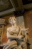 San Jose's National Theater (Teatro Nacional de Costa Rica), statue in the pink marble lobby