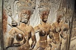 Angkor Wat bas relief stone carvings of apsaras or celestial nymphs