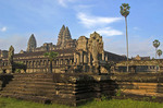 Angkor Wat temple's eastern side in morning light
