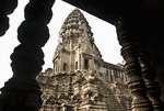 Angkor Wat tower from inside temple ruins