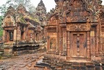 Angkor's Banteay Srei temple of intricately carved stone