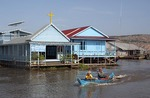 Tonle Sap lake floating village Catholic church