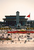 Chairman Mao Zedong Mausoleum, portrait of Dr. Sun Yatsen, and Monument to the Peoples Heroes in Tiananmen Square
