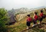 Red Yao nationality women in Longsheng County overlooking rice terraces of Longji at Ping'an village in early spring