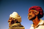 Rajasthani turbaned men in desert near Khimsar (Nagaur district)
