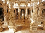 Rajasthan's ornately carved pillars of white marble in the Jain temple of Chaumucha at Ranakpur