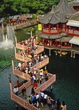 Shanghai's Zig Zag Bridge at Huxingting Tea House next to Yu Yuan (Garden of the Mandarin Yu) in Old Town