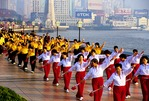Shanghai morning exercise teams on the Bund, the Huangpu River waterfront