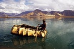 Yak hide boat (kowa) on Yarlung Zangbo River near Lhasa