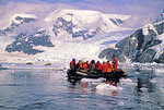 Antarctica tourists in zodiac viewing leopard seals in Neko Harbor of the Antarctic Peninsula