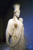 Istanbul Archaeology Museum, marble column in form of maiden, 1st century BCE in time of Augustus Tralles (Aydin)
