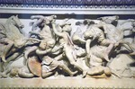 Istanbul Archaeology Museum, detail of battle on sarcophagus believed to have belonged to Alexander the Great from last quarter of 4th century BCE